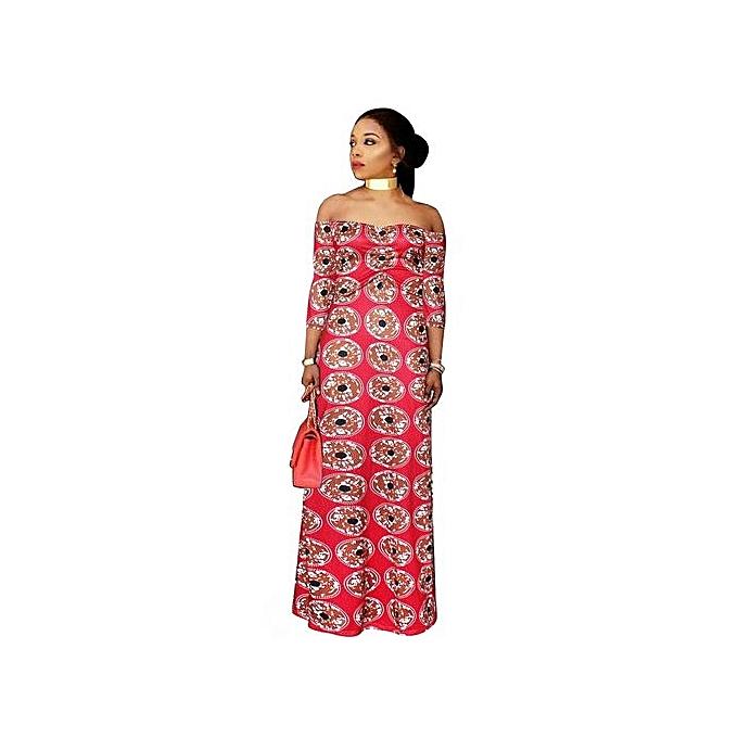Fashion femmes Boho Maxi Dress Off Shoulder Ruffled Print Long Dresses Feminine Floor Length-rouge à prix pas cher