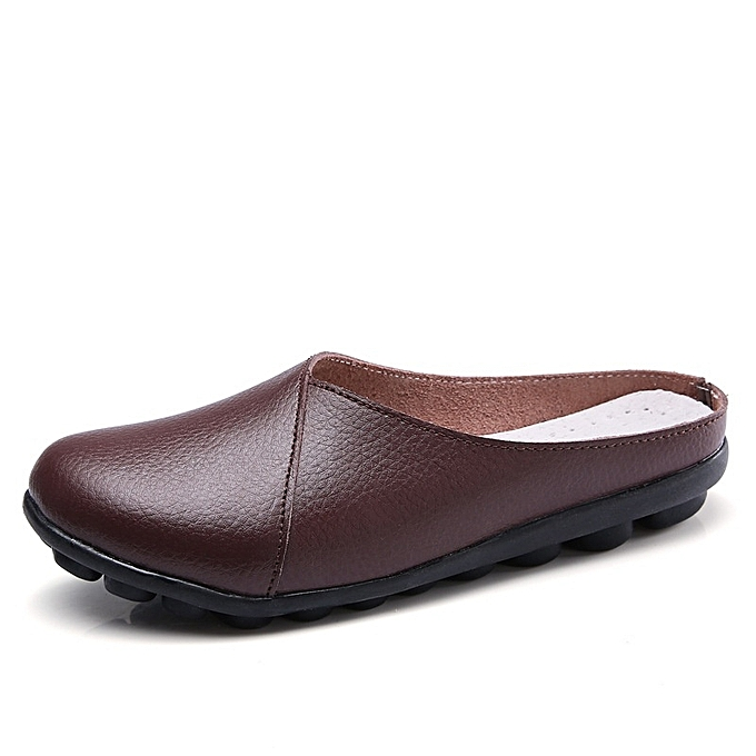 Other femmes Plus Taille respirant Round Toe Mother chaussures cuir Slippers -Coffee à prix pas cher