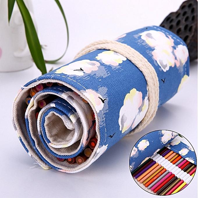 UNIVERSAL 36 48 72 Holes Canvas Wrap Roll Up Pencil Case Pen Bag Holder Storage Pouch à prix pas cher