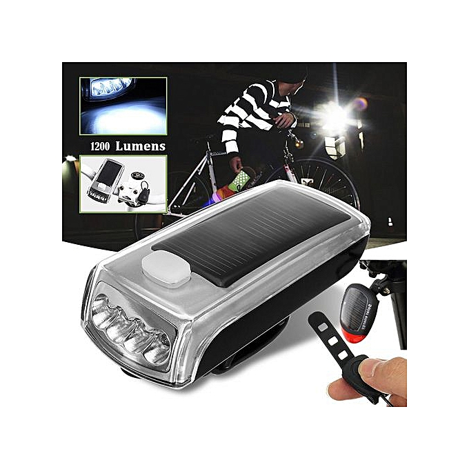 Generic Haojks Bicycle 4 LED Solar Powerouge USB Rechargeable Front Light+ Tail Light Lamp Safety à prix pas cher