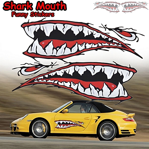 2pcs Waterproof Shark Mouth Kayak Decals Funny Stickers Canoe Boat Car Decor