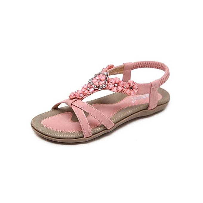 Fashion Super Large Taille Slippers New Fashion Summer femmes Sandals Flowers Rhinestones Leisure Beach chaussures-rose à prix pas cher