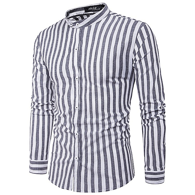 Other New Stylish Long Sleeves Casual Men's Cross Stripes Shirt à prix pas cher