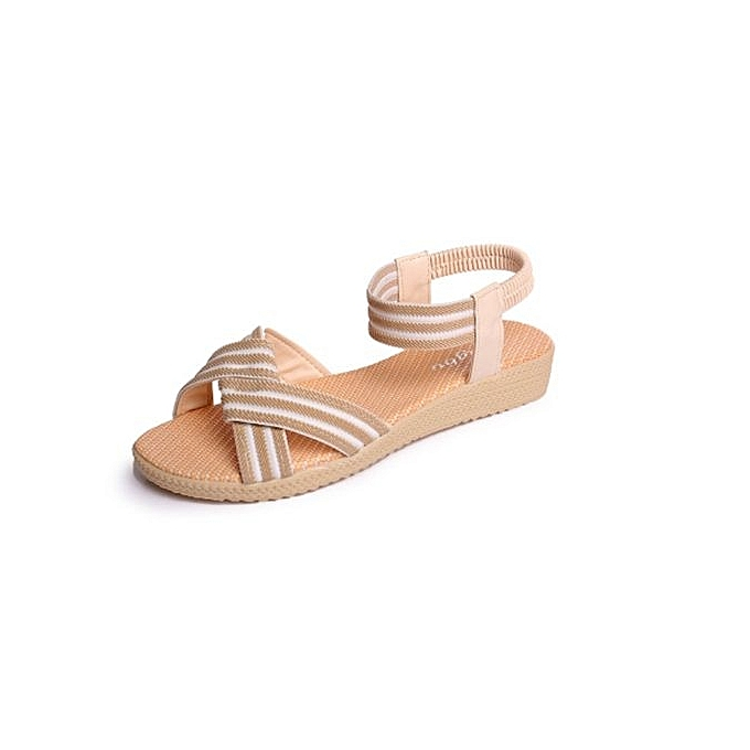 Fashion Large   Fashion Fashion Fashion  's Chaussure s summer flat sandals solid color elastic band female Brown à prix pas cher  | Black Friday 2018 | Jumia Maroc cd062d