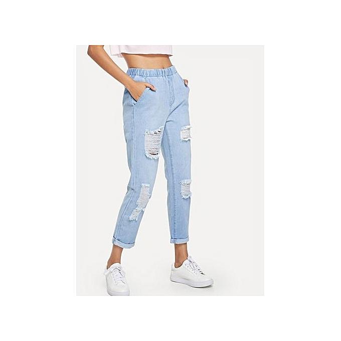 SHEIN lumière Wash Cuffed Leg Ripped Jeans à prix pas cher