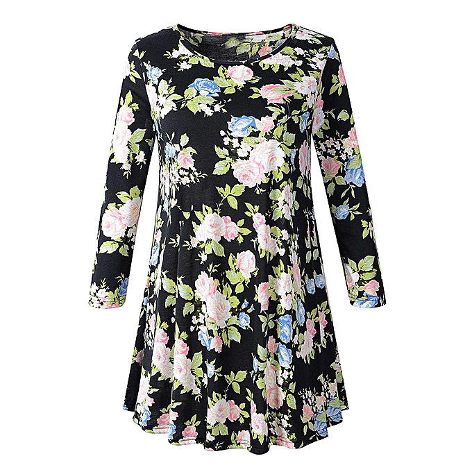 Fashion (Xiuxingzi) femmes Long Sleeve O Neck Floral Tops Ladies Summer T-Shirt Blouse à prix pas cher