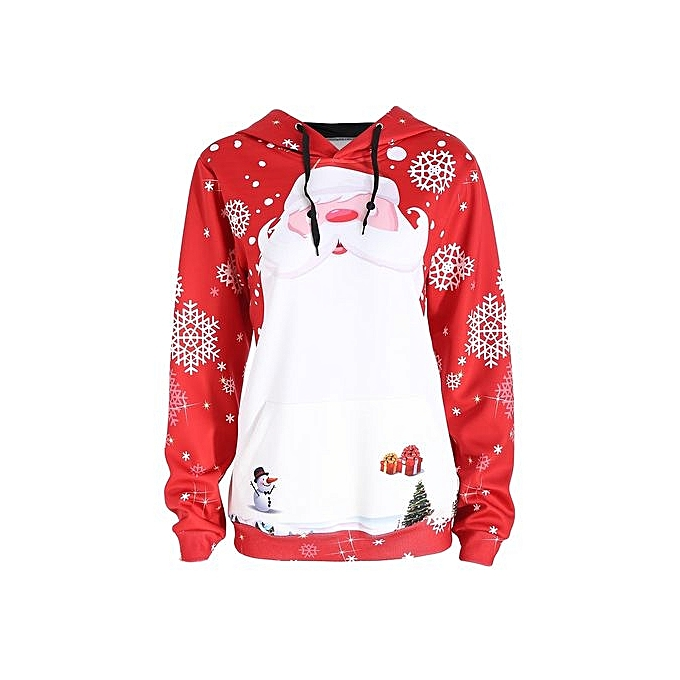 Nextmia Christmas Santa Claus Snowflake Plus Taille Hoodie-rouge-4XL à prix pas cher