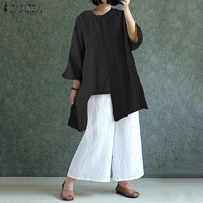 Fashion ZANZEA femmes Loose OverTailled Top Shirt Tee Retro Check Plaid Tunic Blouse à prix pas cher