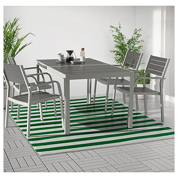 Ikea Tapis tissé à plat vert   blanc 180 x 240 cm à prix pas cher