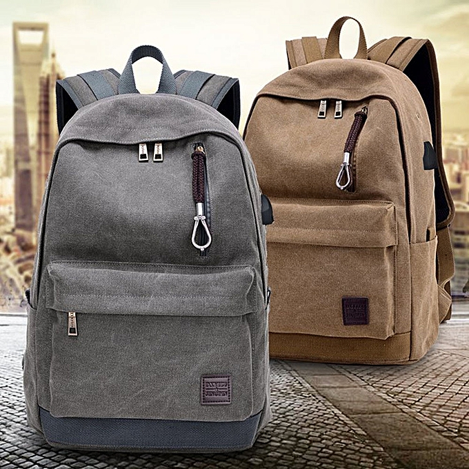 Neworldline Student Boy Laptop Backpack School Bag School Backpack Men Woman Travel Bag-Khaki à prix pas cher