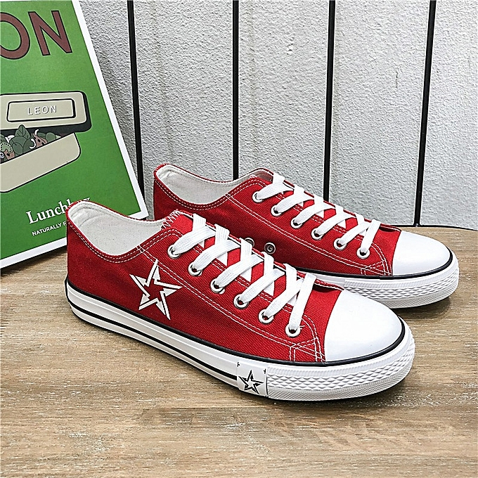 Other Stylish Spring New Korean Version of Men's Canvas chaussures Ins Super Hot Star Five Pointed Star-rouge à prix pas cher