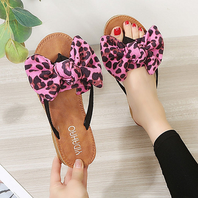 Fashion (Xiuxingzi) Summer Bow Leopard Print Beach Flip Flops Sandals femmes Slippers Flat Sandals à prix pas cher