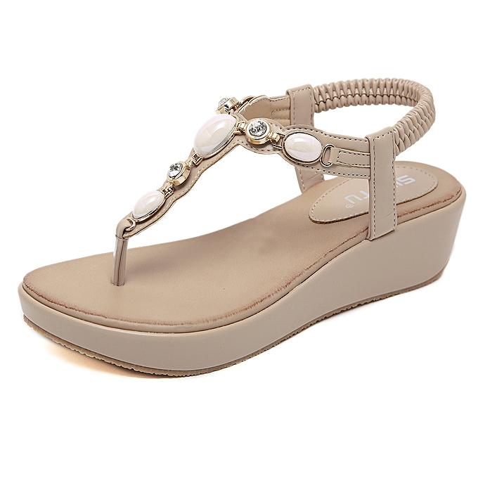 Fashion Sandals Bohemian Rhinestone Buckle Wedge Large Taille Comfort Sandals à prix pas cher