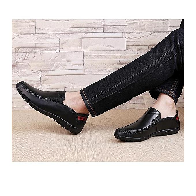 Fashion Fashion Big Size   Genuine Genuine  Leather Comfortable Slip On Business Casual Flat Loafers Shoes-EU à prix pas cher  | Jumia Maroc bddedc