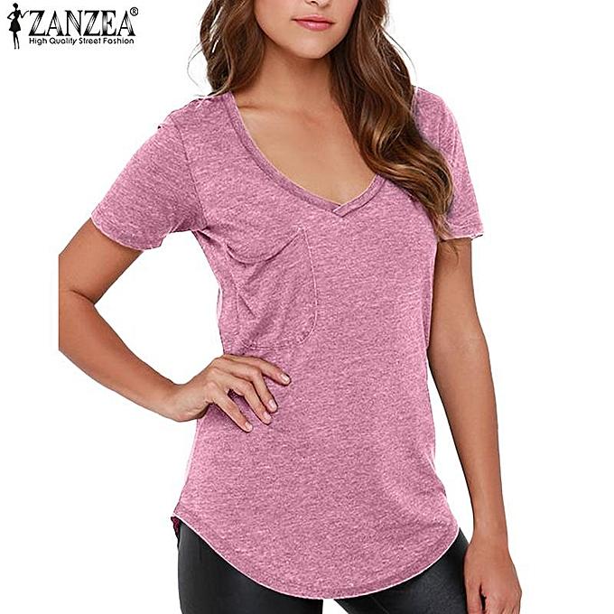 Zanzea ZANZEA Fashion femmes T-shirts Casual Short Sleeve Tops V-neck Tee Blouse (Light rouge) à prix pas cher