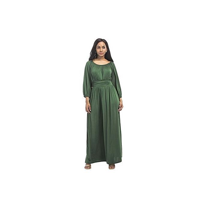 mode femmes Maxi Wrap Robe manche longue Vintage Bird Pattern Long Loose Robees Vestidos-vert à prix pas cher