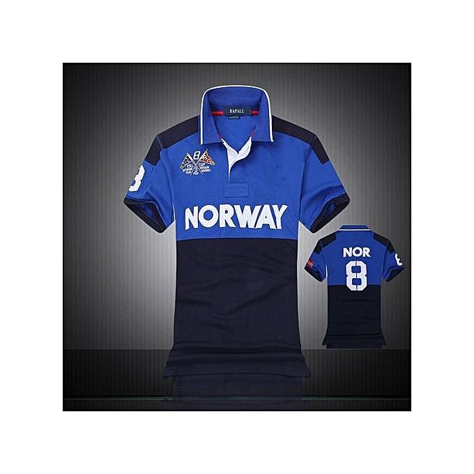 Generic new hommes boutique embroidery breathable 100% cotton polo shirt lapel Men's Air Force One polo shirt 2218-bleu à prix pas cher