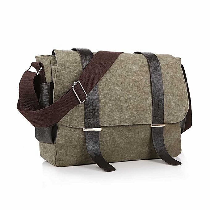 Other Vintage Canvas Men Messenger Bags Laptop Patchwork Leather Crossbody Bags For Men Male Shoulder Bags Satchel School Bag 1117( vert) à prix pas cher