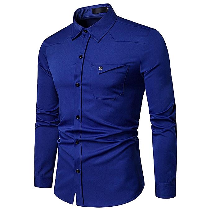 Fashion jiuhap store Men's Business Casual Fashion Pure Couleur Long Sleeved Single Breasted Shirts Top à prix pas cher