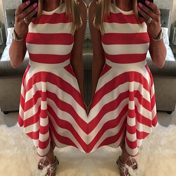 Fashion whiskyky store femmes Dress Summer Sleeveless Stripe Printed Party Evening Sundress rouge L à prix pas cher