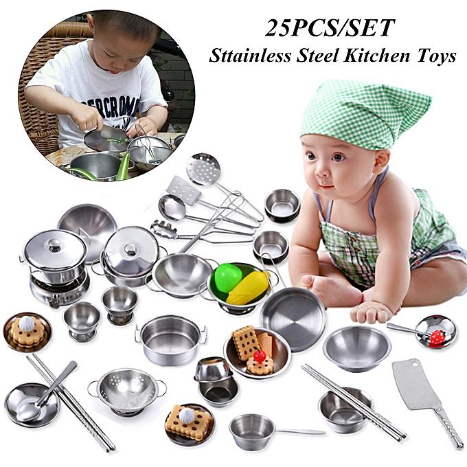 UNIVERSAL 25PCS Mini acier inoxydable Enfant Play House Kitchen Model Cookware Toy Xmas Gift à prix pas cher