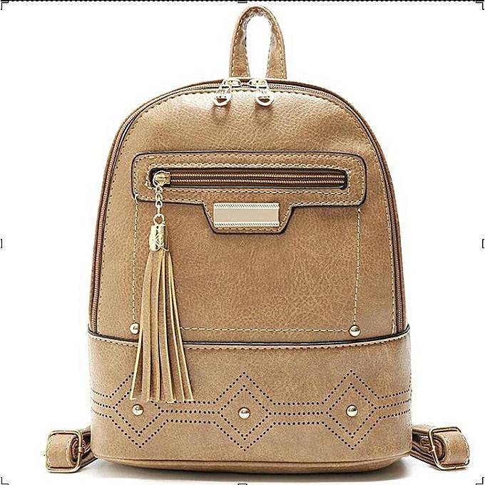 Fashion femmes Casual Solid Backpack  School Bags For Teenage Girls Vintage Shoulder Bag  PU Leather Knapsack tassel and rivet Rucksack à prix pas cher