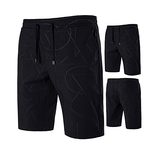 OEM nouveau style Décontracté courtes Hommes Cotton Drawstbague Solid Couleur Mid courte Pants été Male courtes Boardcourte Bermudas-noir à prix pas cher