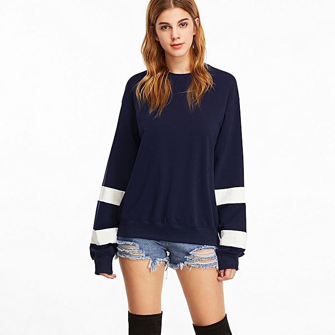 Fashion (Xiuxingzi) Fashion femmes Long Sleeve O Neck Sweatshirt Causal Tops Blouse L à prix pas cher