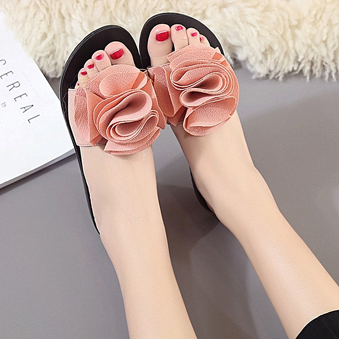 mode Hiamok mode femmes Slip-on Open Toe Flat With talons Pure Couleur FFaibleer Slipper chaussures à prix pas cher