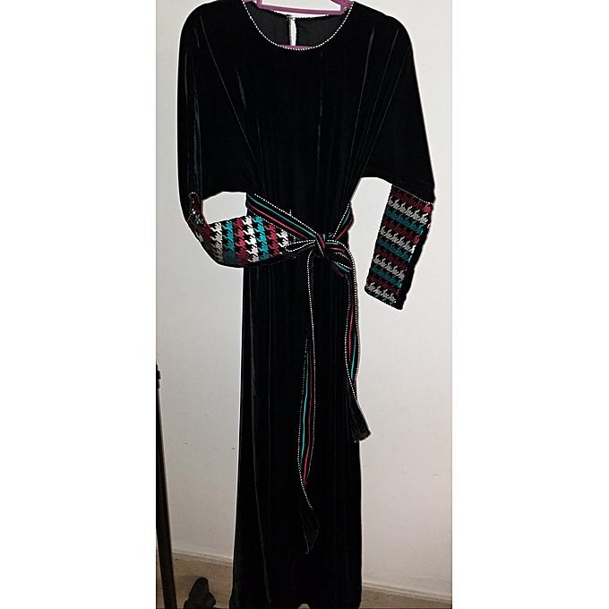 Commandez Générique Gandoura robe en velours brodée avec ceinture ... dd600891263