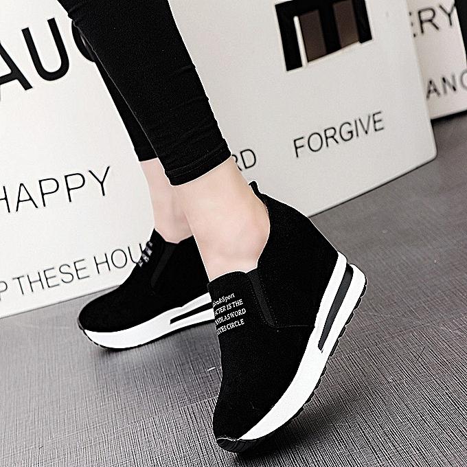 Fashion femmes Casual Platform Hidden Wedge chaussures   Leather baskets Sport—noir à prix pas cher    Jumia Maroc