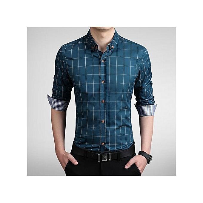 Generic Korean Slim Long-sleeved Shirt Thin Section Summer New Youth Fashion Casual Business Plaid Cotton Men's Wild Shirt Tide à prix pas cher