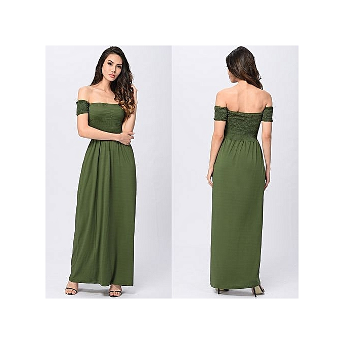 mode femmes Sexy plage Robe Maxi Long Off Shoulder Robees Backless Strapless Tunic SunRobe Party Vestidos-vert à prix pas cher