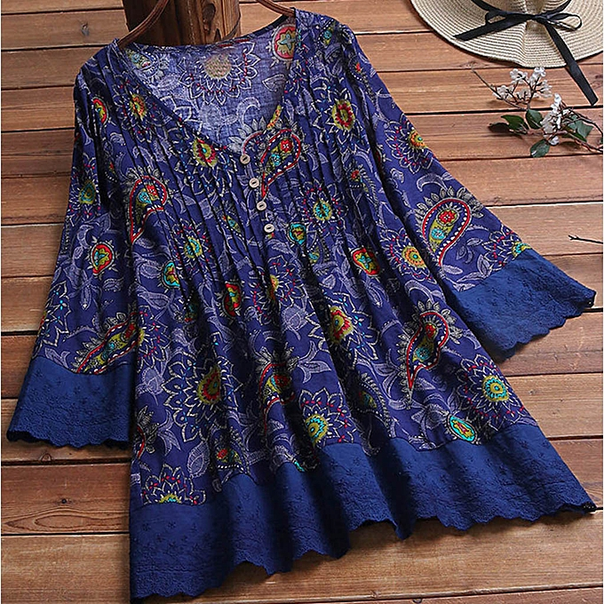 Fashion femmes Fashion Print Large Taille Loose Retro Printed Lace Wild V Neck Shirt à prix pas cher