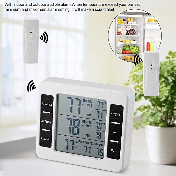 Other Wireless Digital Audible Alarm Refrigerator Thermometer with 2PCS Sensor Min Max Display (blanc) FCJMALL à prix pas cher