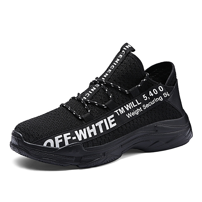 Tauntte Breathable Knitting baskets Men Athletic Runng chaussures (noir) à prix pas cher