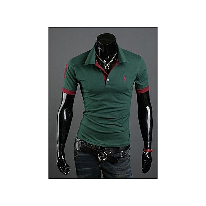 Generic T-shirt Hommes& 039;s courte-sleeved shirt popular mode pop polo shirt-vert à prix pas cher