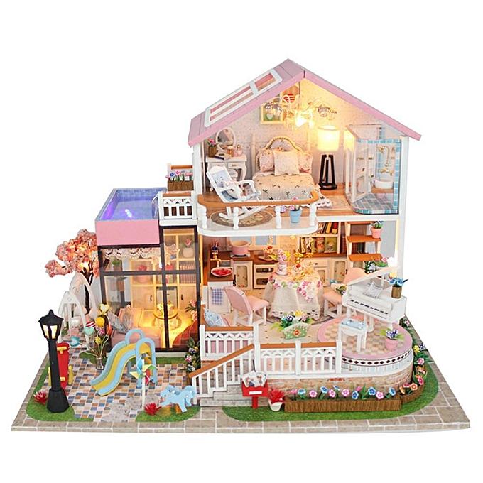 Autre P & amp; L DIY Doux En Bois Miniature Maison De Poupée À La Main Assemblée Modèle Maison Jouet Cadeau à prix pas cher
