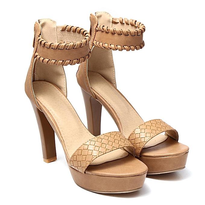 Fashion Fashion Wo   Wo Ankle Strap Platform High Heel Sandals Casual Knit Weave Peep Toe Shoes-EU à prix pas cher  | Jumia Maroc d8680e