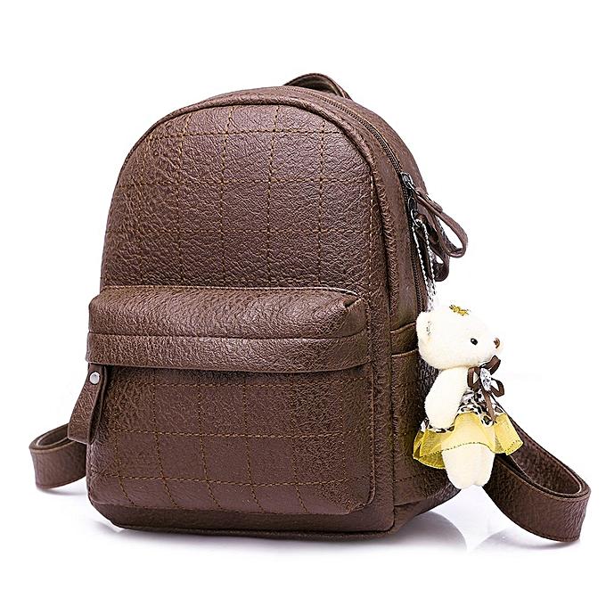 Other Simple Style sac à dos femmes cuir sac à doss For Teenage Girls School sacs mode Vintage Solid noir Shoulder sac Youth(marron) à prix pas cher