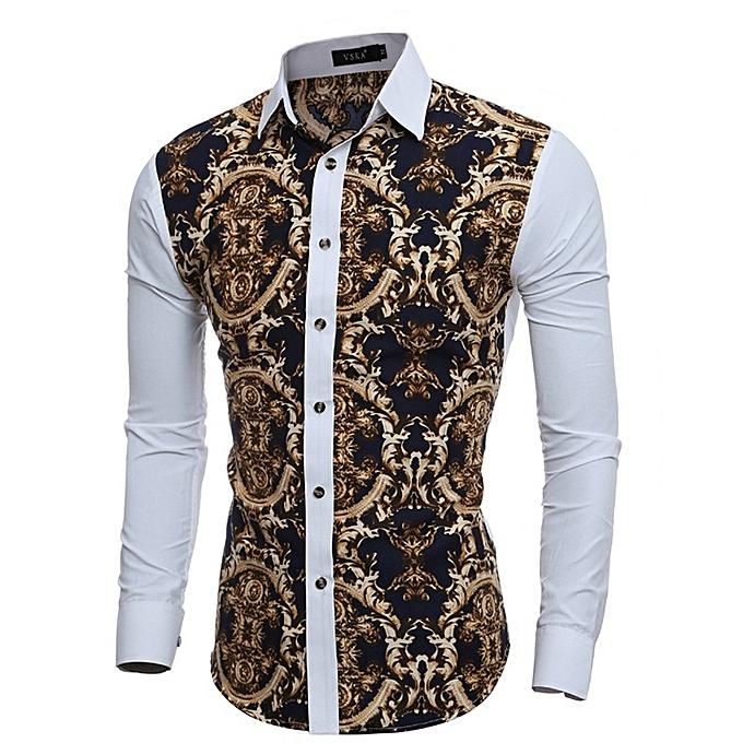 Other nouveau mode Hommes manche longue 3D Retro Patchwork Plus Taille Slim Shirt à prix pas cher