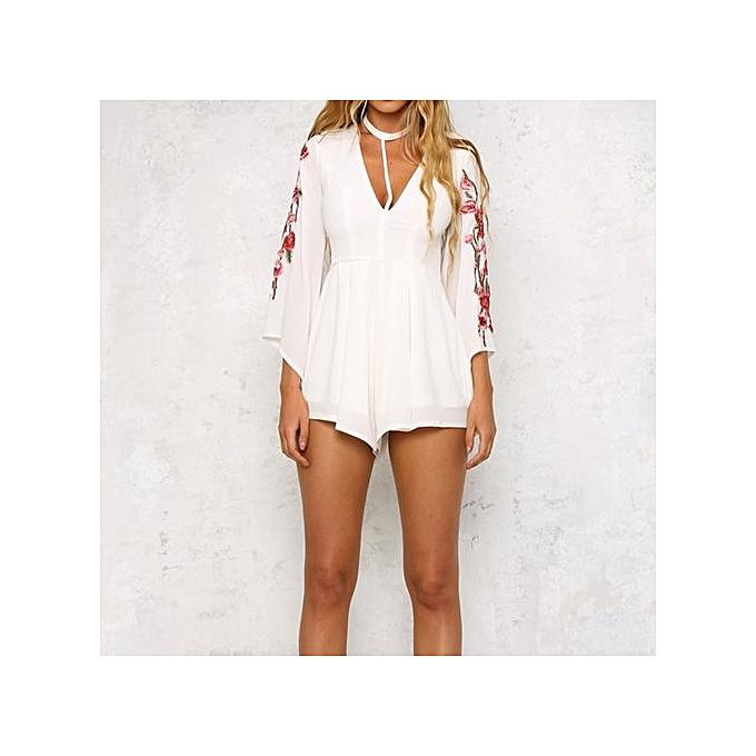 Eissely Wohommes  Embroiderouge Appliques Splice Trousers Straight Short Pants Long Sleeve -blanc à prix pas cher