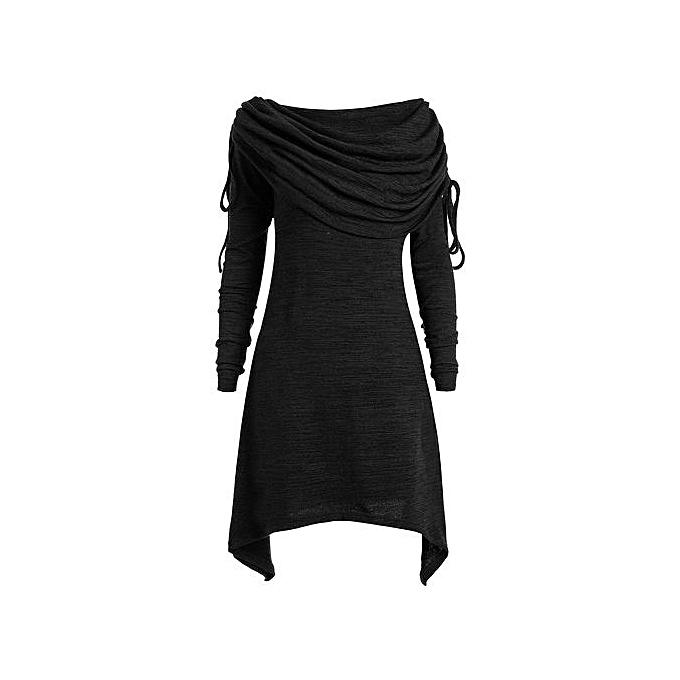 Generic HL Long Foldover Collar Plus Taille Ruched Top (noir)(XL-5XL) à prix pas cher