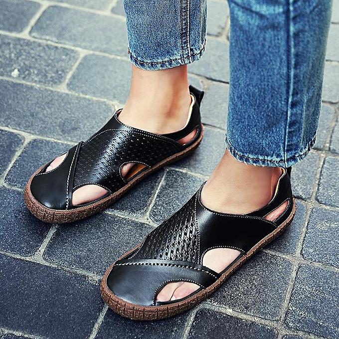 Fashion Fashion Men Breathable Cow Leather Slip Resistant Casual Sandals-EU à prix pas cher