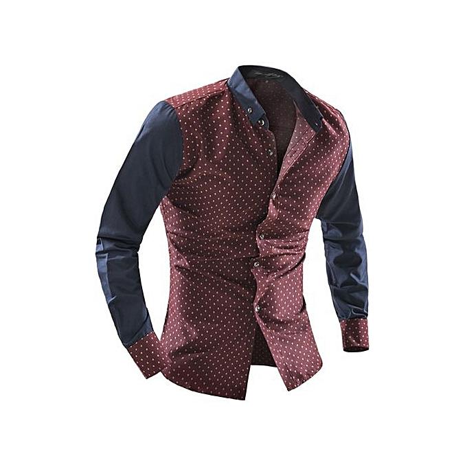 Other 2018 nouveau Causal Hommes& 039;s manche longuePeu Mushroom Print Shirt à prix pas cher