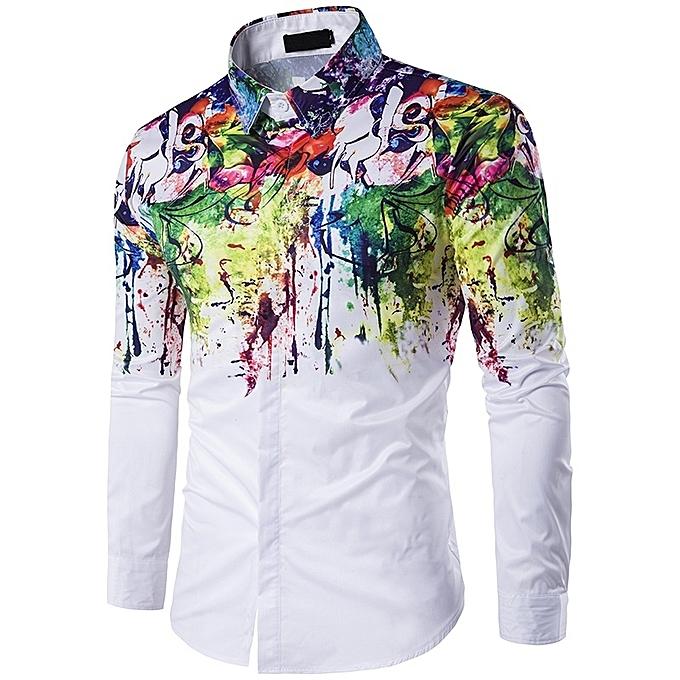 Other Fashion Men Couleurful Slim Long Sleeve Plus Taille Shirt à prix pas cher