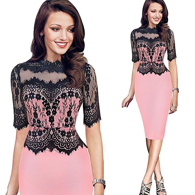 Fashion schoolcool  femmes Vintage Lace Bodycon Pencil Evening Party Dress  PK XL à prix pas cher