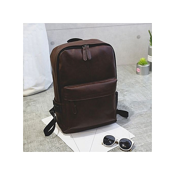 Generic Men's Wohommes Leather Backpack Laptop Satchel Travel School Rucksack Bag marron à prix pas cher