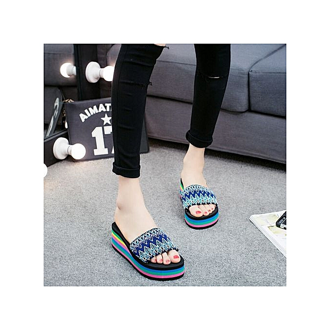 Fashion Wohommes Summer National style Soft Flip Flops Wedge Heels Slipper-bleu à prix pas cher