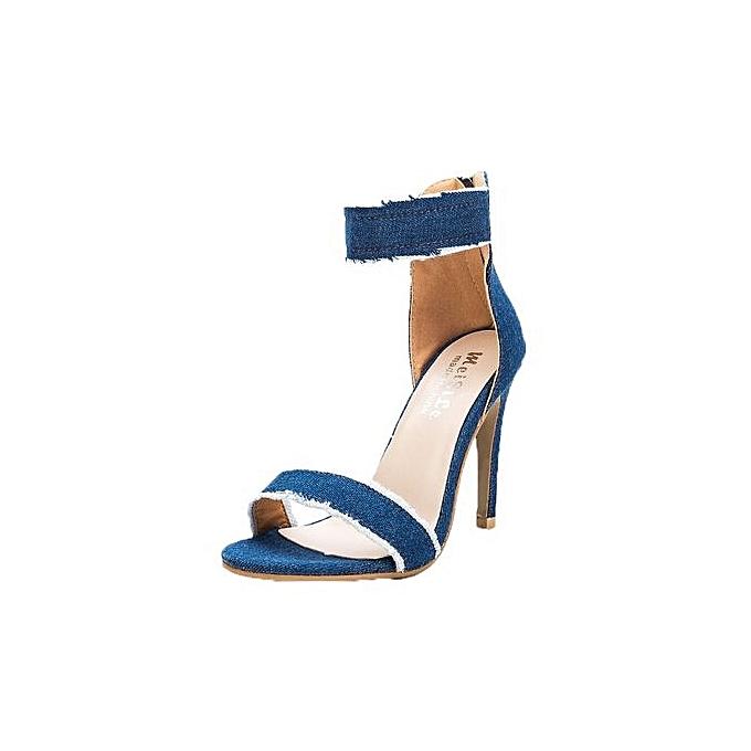 Fashion Bliccol High Heel chaussures Pumps Fashion talons hauts chaussures Wedding femmes Denim High-Heeled Sandals LB 35-Light bleu à prix pas cher